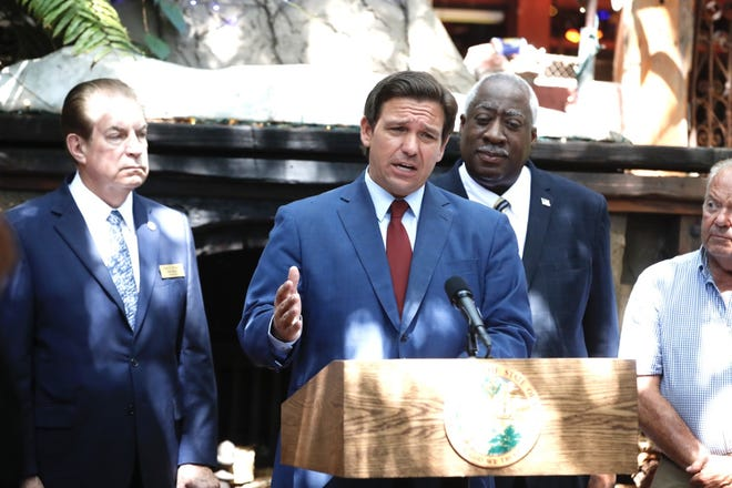 Gov. Ron DeSantis, speaking at The Garlic restaurant in New Smyrna Beach on Wednesday, eliminated $1.5 billion through vetoes to lines in the state budget.