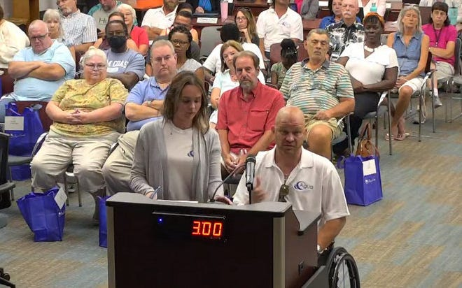 """Dan Priotti of Agua Construction speaks to the Palm Coast City Council. Priotti objected to being listed on the city's """"naughty list"""" of difficult residents, saying it contained inaccurate information."""