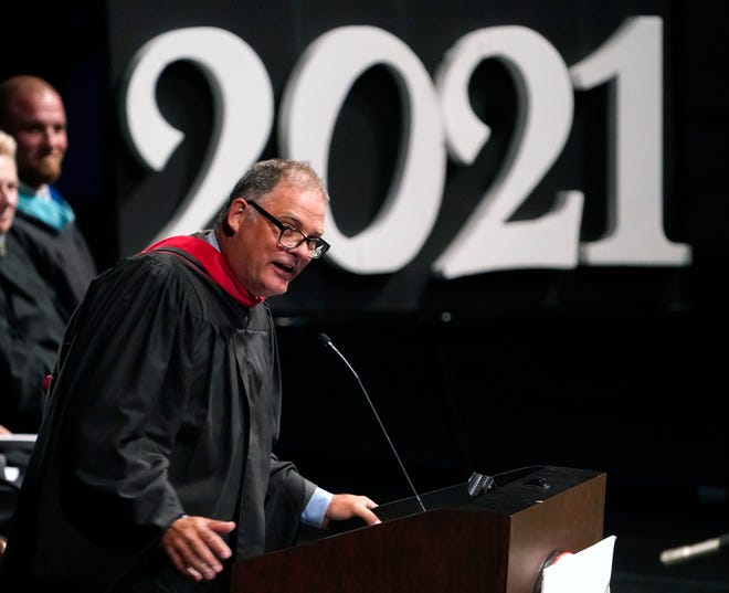 Matanzas High School principal Jeff Reaves hand wrote and personalized notes for each of the 459 graduates and left them on their seats to read before they received their diploma.