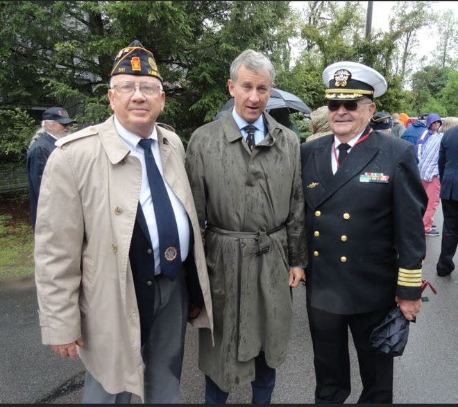 From left, Commander Joseph Majeski, American Legion Wilson Kelch Post 311; Congressman Matt Cartwright and U.S. Navy Captain Maurice Meagher (retired), following Post 311's Memorial Day ceremony at the Veteran's Monument in Hawley, May 30, 2021.