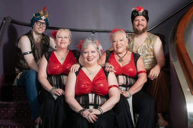 Destination Tribal Bellydance troupe members from left: Trevor McElhinney, Coleen Poling, Cheryl Bean, Beverly Bean, and Cody Flietner. The troupe's final performance will be Saturday at the Capitol Theater. Doors open at 6 p.m., show starts at 7 p.m.