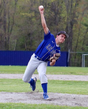Murdock senior Jack Polcari, shown delivering a pitch during a game against rival Narragansett in May, was named the MIAA's Student-Athlete of the Month for April.