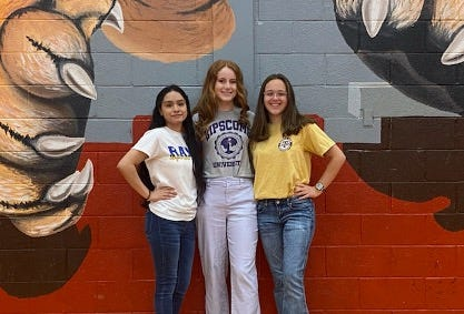 Pictured from left are Glen Rose High School Class of 2021 graduates Xochitl Corrujedo, Abby Stephenson and Erin Outen.