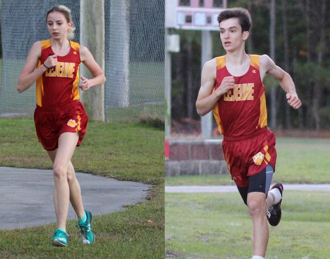 Lejeune High runners, Elizabeth Schwend, left, and Tyler Shelton were recently named NCHSAA Heart of a Champion award winners.