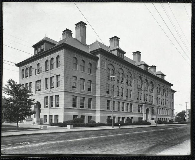 This is Dorchester High School on Talbot Ave. as it was in 1912. Learn more from Digital Commonwealth at www.digitalcommonwealth.org.