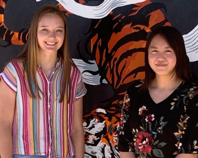La Junta High School student Shealie Schmidt (left) and recent graduate Alyssa Bullock (right) helped the City of La Junta receive over $65,000 for a new Bike Share Program