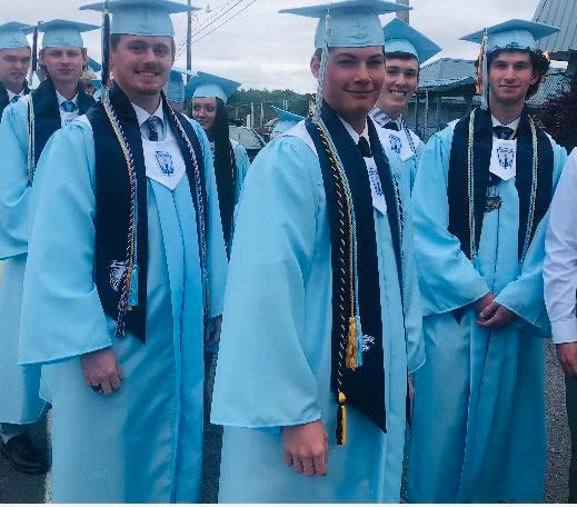 Jacob Logsdon, Ben Nestor and Corey Brieloff stand at the head of the line as they await the processional into Falcon Field for Frankfort High School's graduation Sunday.