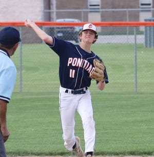 Pontiac shortstop Johnny Lenox fires the ball to first base during Tuesday's Illini Prairie Conference baseball game with Monticello at The Ballpark at Williamson Field. PTHS lost 2-0.