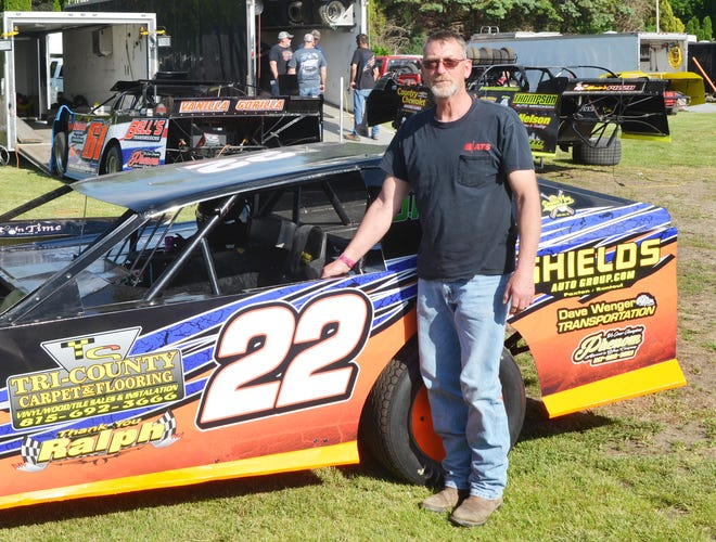 Darren Kerrins with his hobby-modified race car.