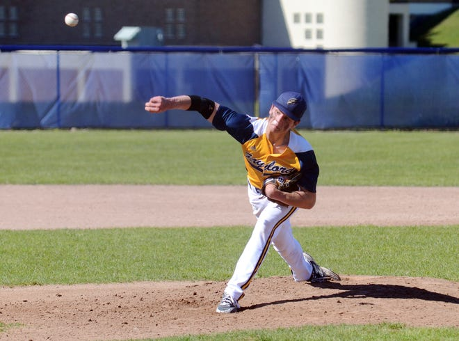 Gaylord pitcher Quinn Schultz delivers a pitch at Northmen Stadium Tuesday during their Division 2 district game against Ogemaw.