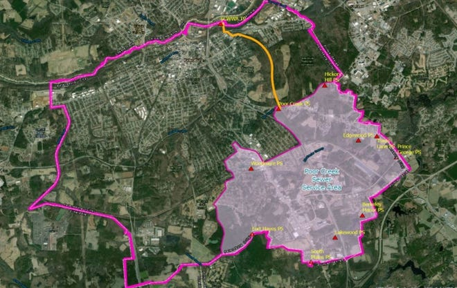 Petersburg's Poor Creek Sewer Service Area covers about one-third of the city's footprint.