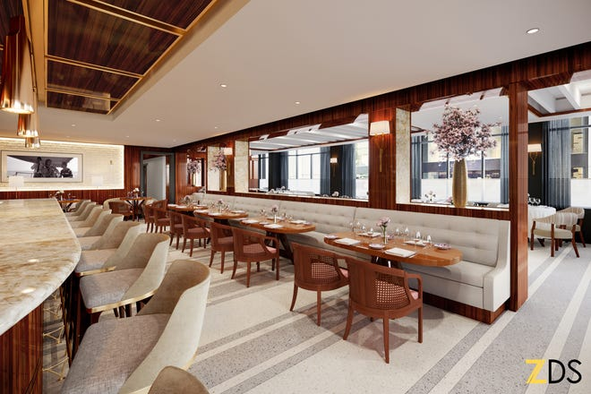 A rendering of Bellini restaurant, set to open in The Beatrice hotel in downtown Providence late this summer.
