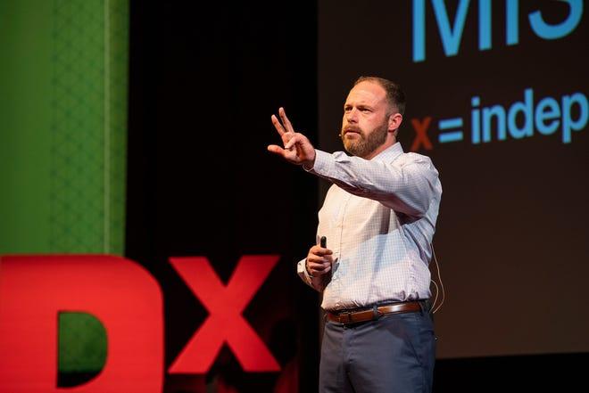 Adam Rice presents at Missouri S&T's 2021 TEDx Talk. Photo by Michael Pierce, Missouri S&T.