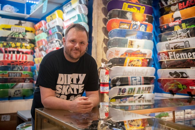 Matt McMinn has opened Dirty Skate Co. on North Water Street in Kent. He said the COVID-19 pandemic spurred him to get back into skateboarding after raising a family and focusing for years on his career.