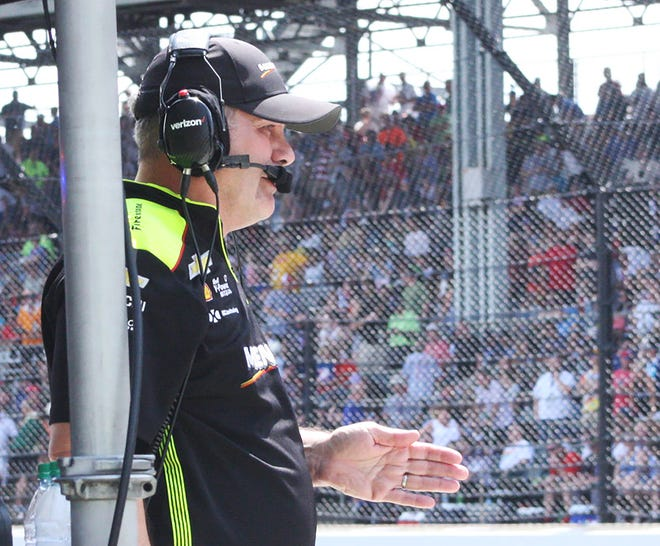 Monrovia native and Team Penske race strategist Kyle Moyer watches Simon Pagenaud win the 2019 Indianapolis 500. (Steve Page / Correspondent)