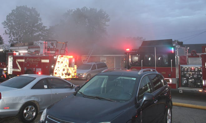 The Martinsville Fire Department responds to an apartment fire on Lee Drive on Tuesday evening.