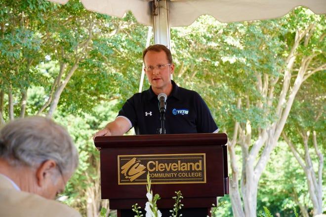 Cleveland Community College President Jason Hurst spoke before a large crowd to celebrate the future of Yeti Athletics Park.