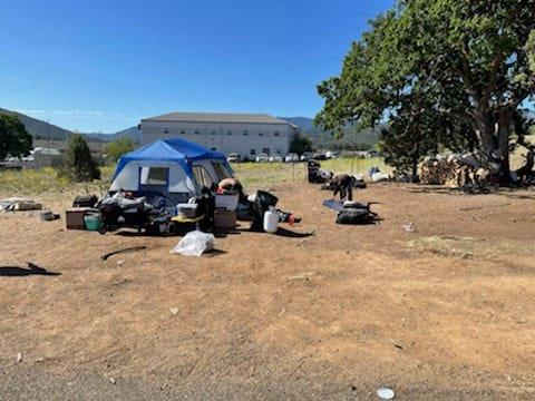 A homeless campsite off of Campus Drive in Yreka.