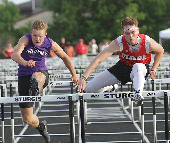 Colon's Alex Stoll took first place in the 110 hurdles, Three Rivers' Gabrielle Humbert came in second.