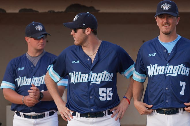 Austin Skipper (56) is back for a third season with the Wilmington Sharks after graduating from New Hanover High School in 2017. [KEN OOTS/FOR THE STARNEWS]