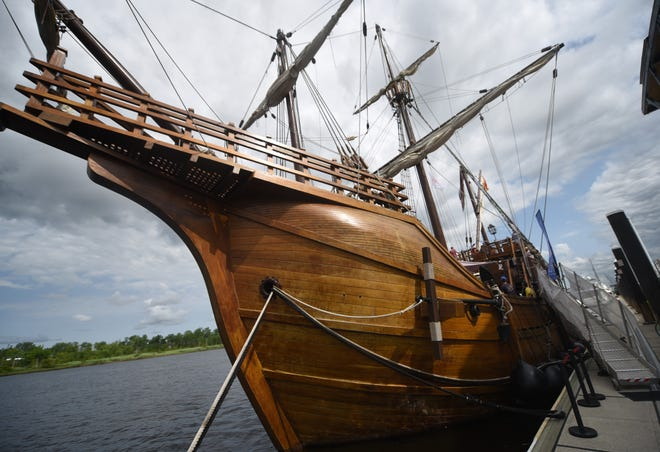 People tour the Nao Santa Maria replica ship when it came to Wilmington in 2019.