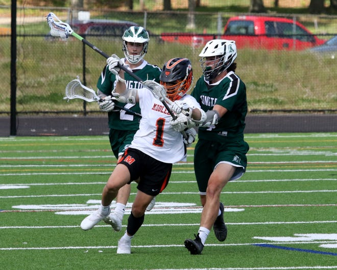Middleboro's Robby Lynn fights off two Abington defenders during a 12-7 loss to the Green Wave back on May 27.