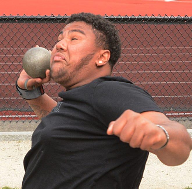 NFA junior Jordan Ribeiro won the Class LL shot put state championship on Tuesday in New Britain.  [John Shishmanian/ NorwichBulletin.com]