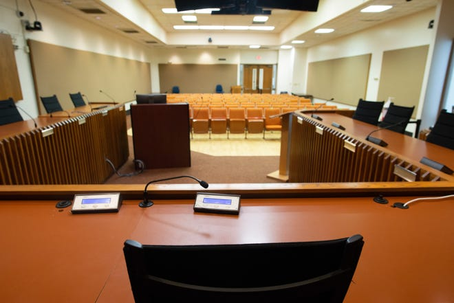 The empty city council chamber awaits new members as election for candidates near.