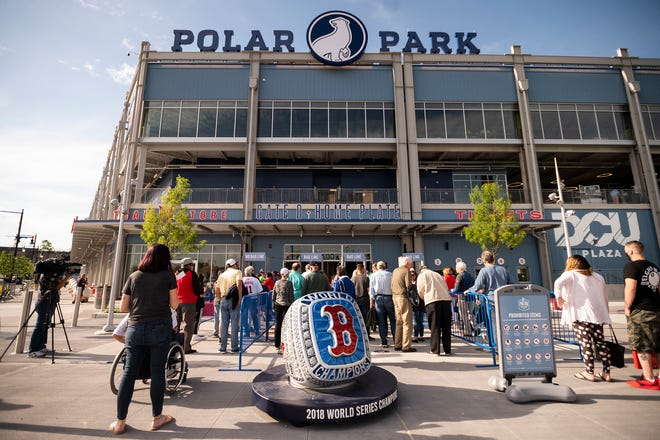 Fans enter Polar Park for the first game without any COVID-19 restrictions  June 1.
