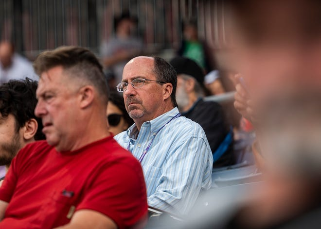 Kevin O'Connor looks on during the WooSox game against Rochester on Tuesday.