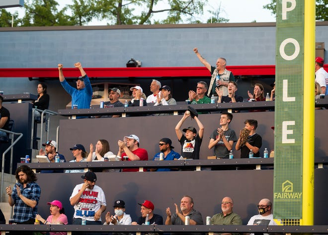 Fans are triple-decked atop the Worcester Wall now that full capacities are allowed at Polar Park.