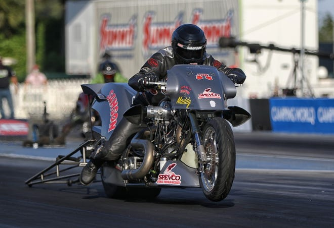 Harley Davidson racer Tii Tharpe, from Pfafftown, will ride in this weekend's AHDRA Nitro Summer Nationals at Rockingham Dragway on June 5-6, 2021.
