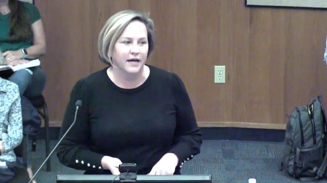 Alachua County Public Schools Superintendent Carlee Simon speaks to the School Board.