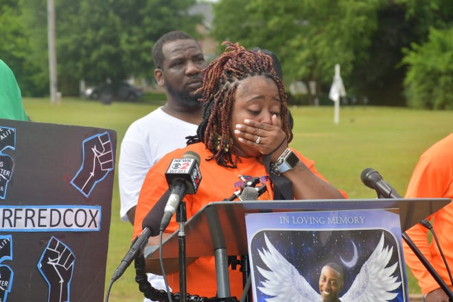 Tenicka Shannon, mother of Fred Cox, fights tears as she discusses the grand jury's decision on Wednesday, June 2, 2021.