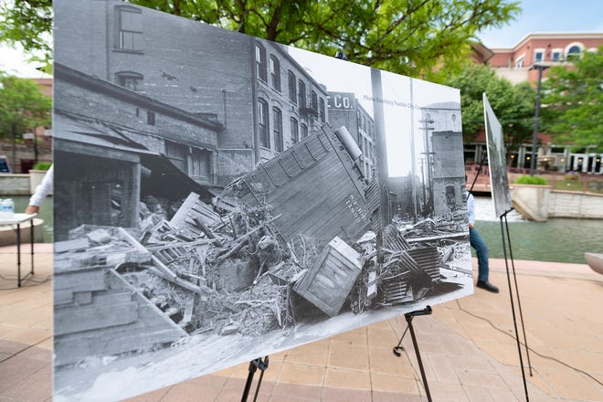 Historic photos of the Great Flood of 1921 were on display at the centennial event held at the Pueblo Riverwalk on Wednesday June 2, 2021.