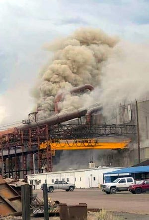 Officials said an explosion inside an electrical furnace at Pueblo's EVRAZ Rocky Mountain Steel Mill in Pueblo Saturday resulted in non life-threatening injuries to eight employees.