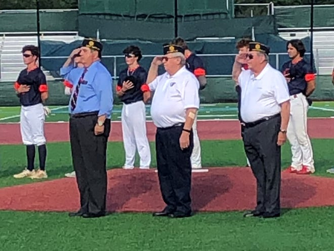 The American Legion Post No. 31 presented the colors at the newly remodeled Hunt's Park on May 26. The American Legion has been a longtime supporter of youth baseball. Legion participants were (from left) Michael Sulina, Keith Greene and John Hendrick.
