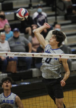 Senior outside hitter Jonah Gilbert had 37 kills as Bradley defeated Dublin Jerome 25-20, 25-18, 25-21 in a Division I, East Region final May 28 at Westerville Central. After the match, the seniors attended their graduation ceremony at Ohio State.