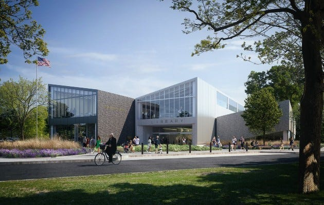This rendering shows how the new Gahanna branch of the Columbus Metropolitan Library will appear when it replaces the current branch at 310 Granville St. in Gahanna. The branch there now will be demolished.