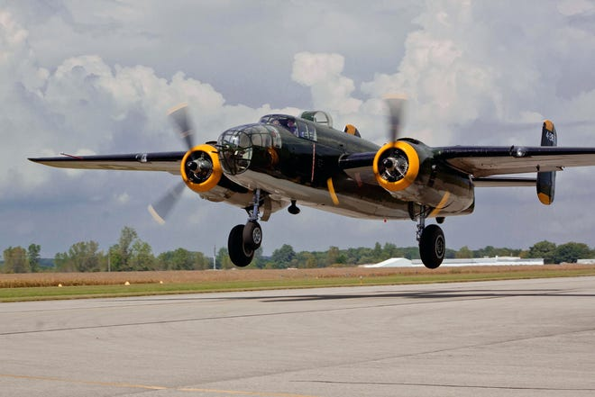 Rides on this B-25 bomber will be available June 4 and June 5 at the Hogan Field Fly-In at the Butler County Regional Airport.