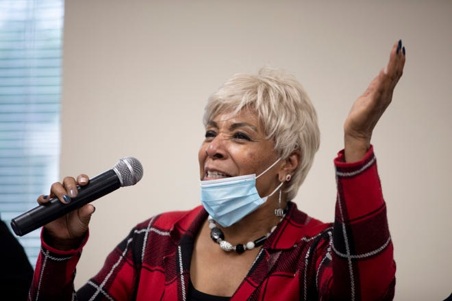 State Rep. Catherine Ingram introduces herself during the Urban League of Greater Southwestern Ohio's Freedom to Vote Town Hall Tour hosted by State Rep. Brigid Kelly on Wednesday, June 2, 2021, in Avondale.