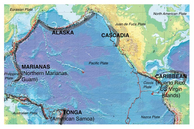 """This map from the United States Geological Service shows the major plate boundaries of the Pacific Ocean. Red dots indicate volcanoes. Red lines are plate boundaries. Grey swatches indicate areas where the oceanic plates """"subduct"""" or sink under the continental plates, forming volcanoes. Costa Rica, and by extension most of Central America is being built by volcanoes rising above a subduction boundary."""