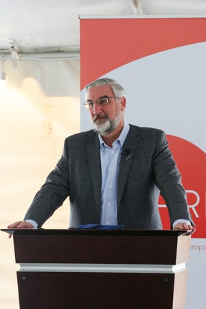 Gov. Eric Holcomb speaks at a ground breaking event at Inari, Wednesday, June 2, 2021 in West Lafayette. Inari, headquartered in Cambridge, Mass., is a gene editing company enhancing the yield of soy bean and corn seeds.