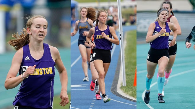 The Lexington trio of Joanna Halfhill (left), Halle Hamilton (middle) and Lily Weeks (right) bring an end to their historic careers during this weekend's Division I state track meet.