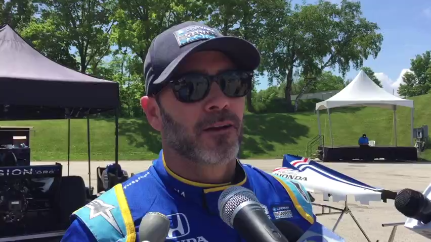 Jimmie Johnson, the NASCAR champ turned IndyCar rookie, discusses his Road America test