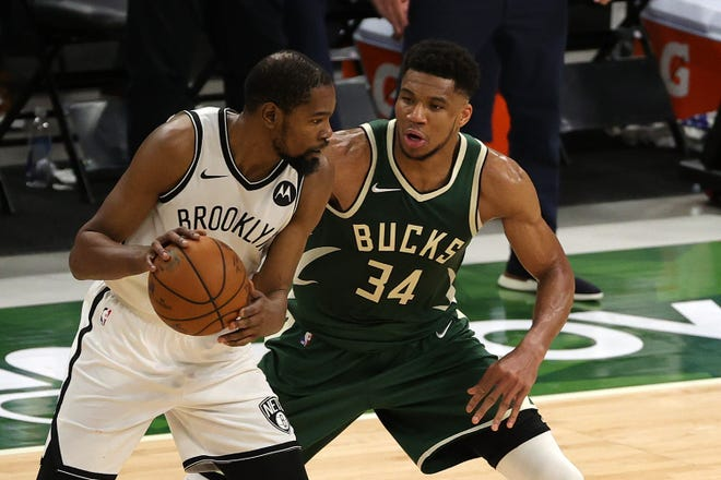Kevin Durant of the Brooklyn Nets has made Giannis Antetokounmpo look bad when the Bucks star has defended him during their Eastern Conference semifinal series.