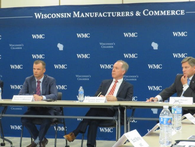 Assembly Speaker Robin Vos and Senate Majority Leader Devin LeMahieu joined business leaders Wednesday to discuss the state's workforce shortage.