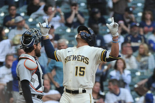 Brewers right fielder Tyrone Taylor celebrates his home run in the third inning against the Detroit Tigers at American Family Field.