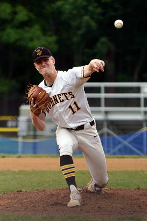 Jonathan Peterson of Hanover Park pitches to Lodi in the first inning. Lodi at Hanover Park baseball in the NJSIAA Section 1, Group 2 tournament on Wednesday, June 2, 2021, in East Hanover.