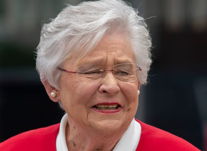 Alabama Governor Kay Ivey makes her first campaign stop at Filet & Vine in Montgomery, Ala., on Wednesday June 2, 2021. Ivey announced that she is running for re-election as governor on Wednesday morning.